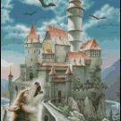 Wolf CASTLE IN THE MOONLIGHT cross stitch pattern