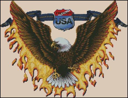 Eagle FREEDOM  cross stitch pattern