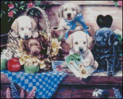 PUPPIES IN GARDEN cross stitch pattern