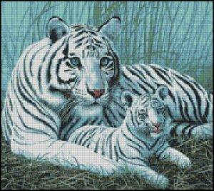 WHITE TIGERS 2 cross stitch pattern