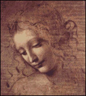 Leonardo da Vinci FEMALE HEAD cross stitch pattern