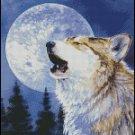 WOLF AT NIGHT cross stitch pattern