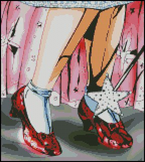 WIZARD OF OZ #11 RUBY RED SLIPPERS cross stitch pattern