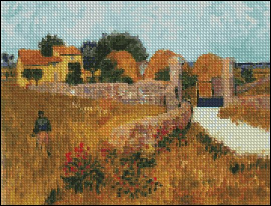 Vincent Van Gogh FARMHOUSE IN PROVINCE cross stitch pattern