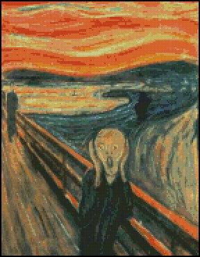 Edward Munch THE SCREAM cross stitch pattern