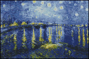 Vincent Van Gogh STARRY NIGHT OVER THE RHONE cross stitch pattern