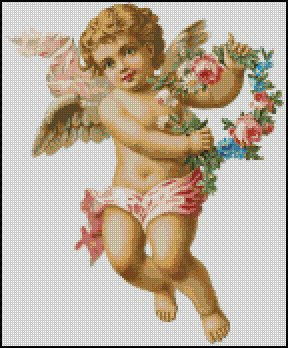 VINTAGE BABY ANGEL cross stitch pattern