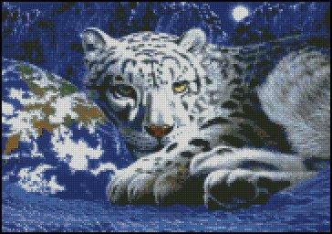 WHITE LEOPARD cross stitch pattern