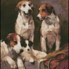 THREE HOUNDS WITH A TERRIER cross stitch pattern