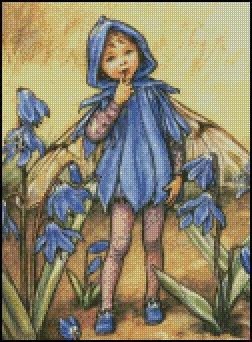 FAIRY BLUE FLOWERS cross stitch pattern