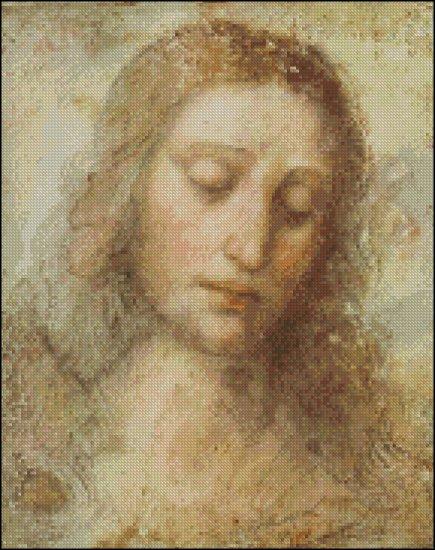 HEAD OF CHRIST da Vinci cross stitch pattern