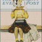 GIRL READING THE POST cross stitch pattern