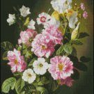 STILL LIFE WITH PINK AND WHITE ROSES cross stitch pattern