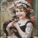 LITTLE GIRL WITH KITTY cross stitch pattern
