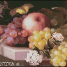 STILL LIFE WITH GRAPES, PEACH AND FLOWER cross stitch pattern