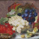 A STILL LIFE OF BERRIES AND GRAPES cross stitch pattern