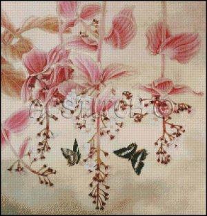 FLOWERS AND BUTTERFLIES cross stitch pattern