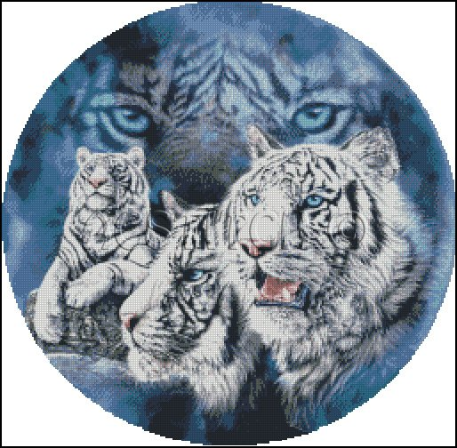 Fantasy TIGER'S EYES 2 cross stitch pattern
