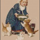 GIRL WITH KITTENS cross stitch pattern