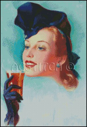 VINTAGE WOMAN PORTRAIT cross stitch pattern
