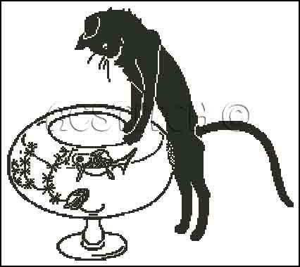 CAT AND GOLDFISH cross stitch pattern