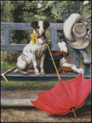 DOG WITH UMBRELLA cross stitch pattern