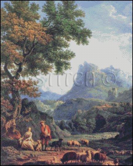 SHEPHERD In THE ALPS cross stitch pattern