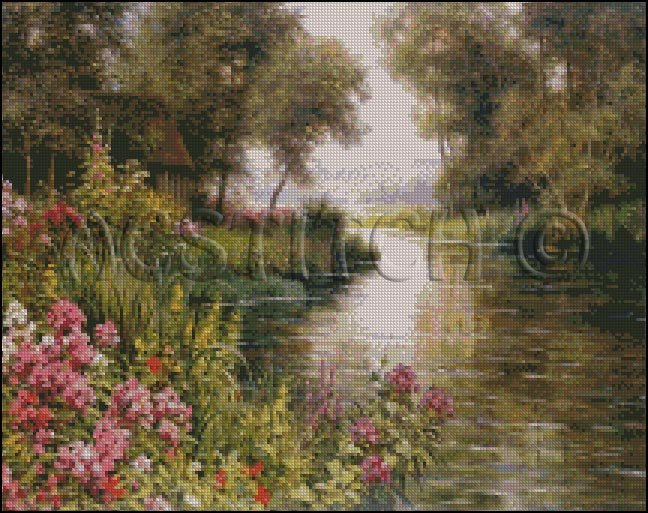 FLOWERS BY THE EDGE OF THE RIVER cross stitch pattern
