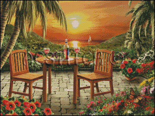 BEAUTIFUL SUNSET cross stitch pattern