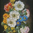 ANEMONES, CARNATIONS AND POLYNTHUS cross stitch pattern