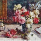 ROSES A VASE AND SOME BOOKS cross stitch pattern