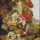 STILL LIFE FLOWERS AND BUTTERFLY cross stitch pattern