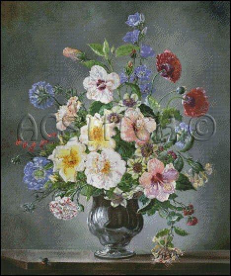 FLOWERS IN A VASE 3 cross stitch pattern