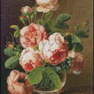Still Life Of Roses In A Glass Vase cross stitch pattern