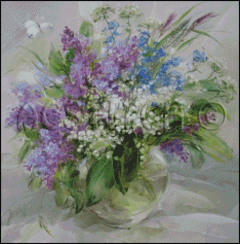 LILACS IN A VASE cross stitch pattern