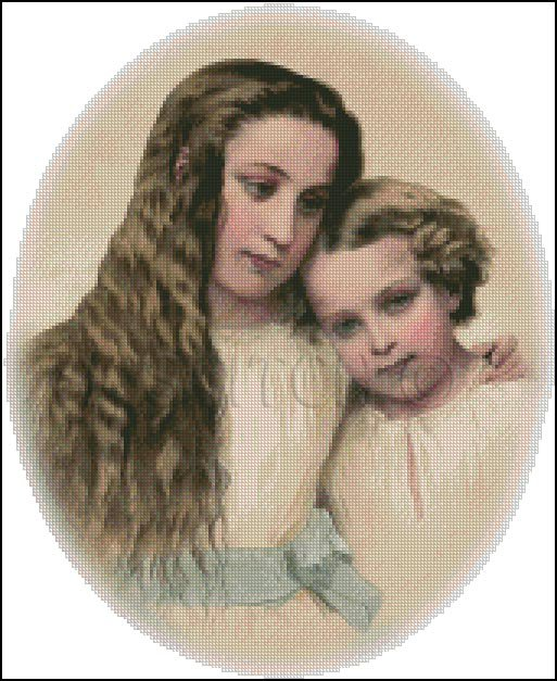 SISTER AND BROTHER cross stitch pattern
