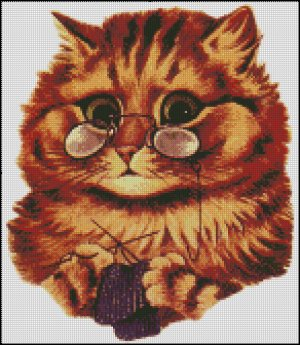Knitting Kitty cross stitch pattern