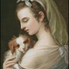 LADY WITH PUPPY , cross stitch pattern
