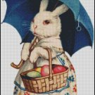VINTAGE EASTER RABBIT cross stitch pattern, chart, graph