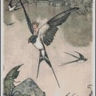 CHILD FLYING on BIRD cross stitch pattern