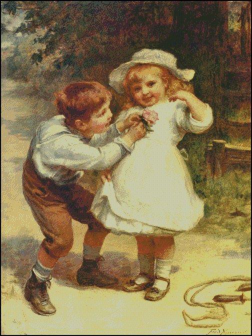 BOY AND GIRL SWEETHEARTS cross stitch pattern