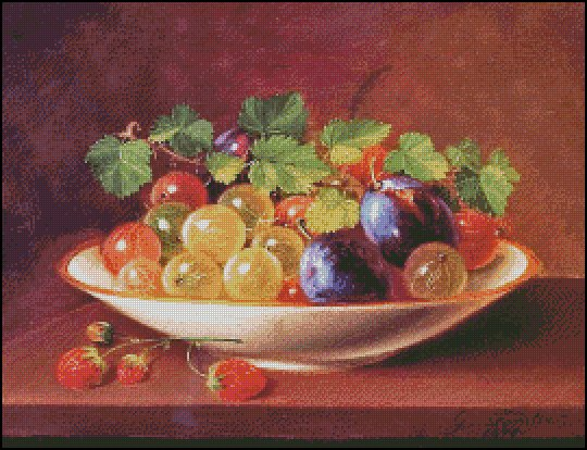 GOOSEBERRIES AND PLUMS cross stitch pattern