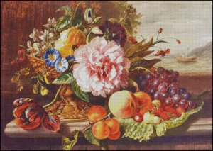 STILL LIFE WITH FLOWERS AND FRUITS cross stitch pattern