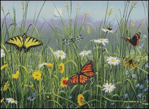 BUTTERFLY FIELD  cross stitch pattern No.639