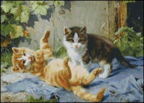 Kittens UP TO MISCHIEF cross stitch pattern