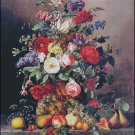 A STILL LIFE WITH ASSORTED FLOWERS AND FRUIT cross stitch pattern