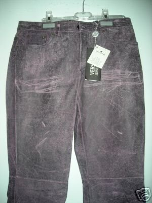 NEW Versace Distressed Leather Jeans - EUR 41/US 27