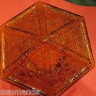 VINTAGE Amber Crackled Glass 6-Sided Lamp Shade