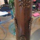 VINTAGE Mid-Century Wood Table Lamp w/ Metal Decoration