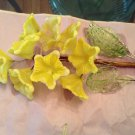 VINTAGE Handblown Yellow Wired Glass Flower Stem w/ Leaves